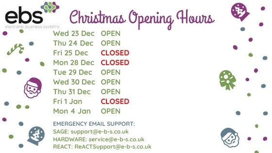 EBS Christmas Support Hours